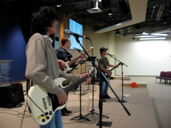 The boys from my first team practicing to lead worship without me. (2006)